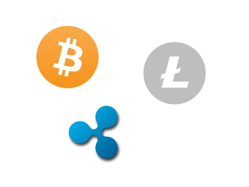 Bitcoin, Litecoin, Ripple
