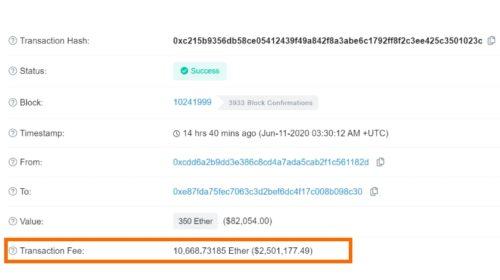 Uživatel zaplatí za transakci s etherem druhý poplatek ve výši 2,6 milionu USD